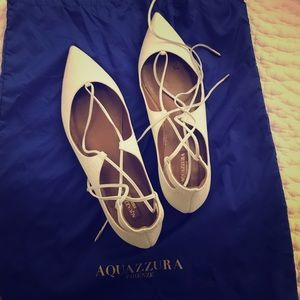 Aquazzura Christy lace-up pointed flats